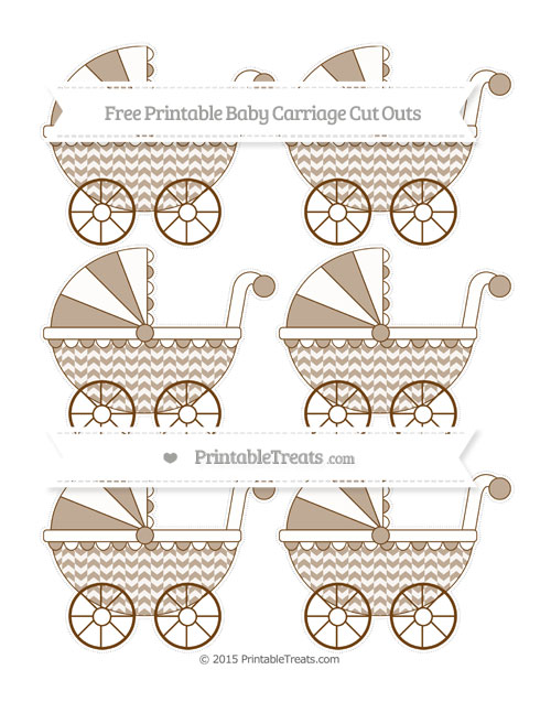 Free Sepia Herringbone Pattern Small Baby Carriage Cut Outs