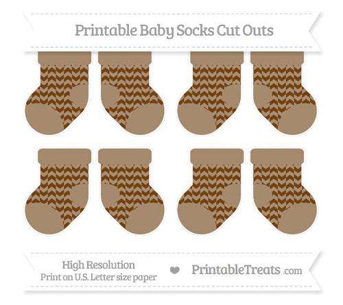 Free Sepia Herringbone Pattern Small Baby Socks Cut Outs