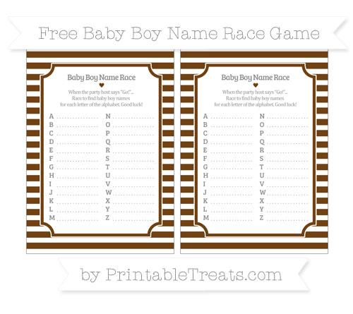 Free Sepia Horizontal Striped Baby Boy Name Race Game