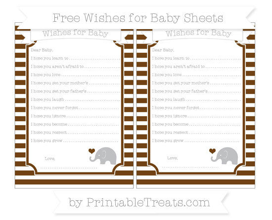 Free Sepia Horizontal Striped Baby Elephant Wishes for Baby Sheets
