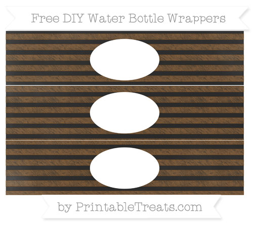 Free Sepia Horizontal Striped Chalk Style DIY Water Bottle Wrappers