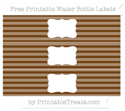 Free Sepia Horizontal Striped Water Bottle Labels