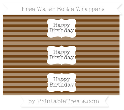 Free Sepia Horizontal Striped Happy Birhtday Water Bottle Wrappers