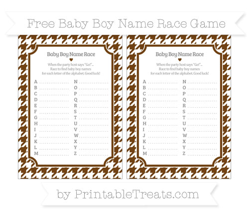 Free Sepia Houndstooth Pattern Baby Boy Name Race Game
