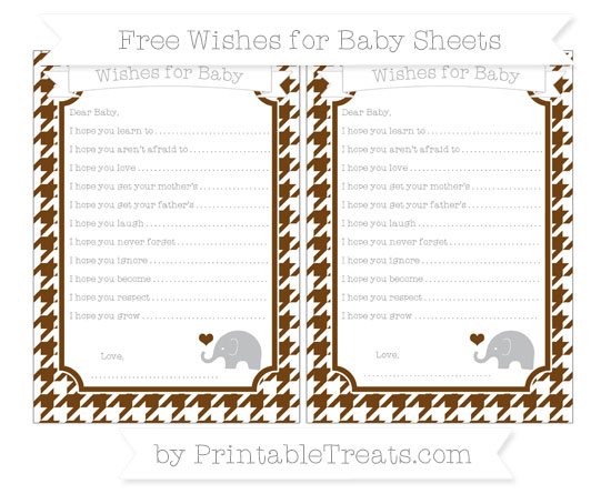 Free Sepia Houndstooth Pattern Baby Elephant Wishes for Baby Sheets