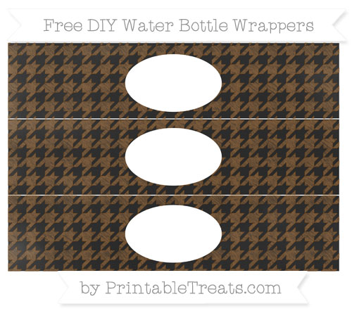 Free Sepia Houndstooth Pattern Chalk Style DIY Water Bottle Wrappers