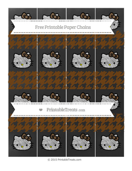 Free Sepia Houndstooth Pattern Chalk Style Hello Kitty Paper Chains