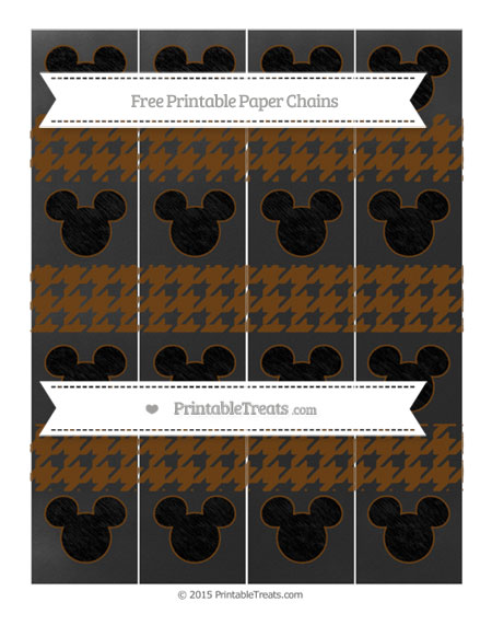Free Sepia Houndstooth Pattern Chalk Style Mickey Mouse Paper Chains