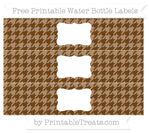 Free Sepia Houndstooth Pattern Water Bottle Labels
