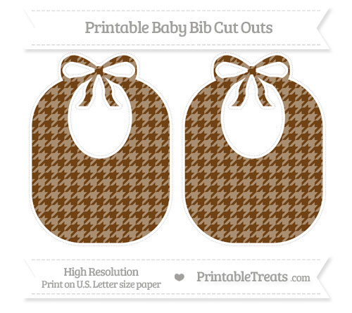 Free Sepia Houndstooth Pattern Large Baby Bib Cut Outs