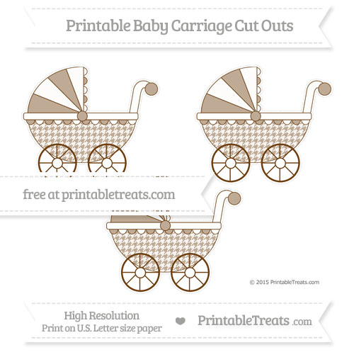 Free Sepia Houndstooth Pattern Medium Baby Carriage Cut Outs