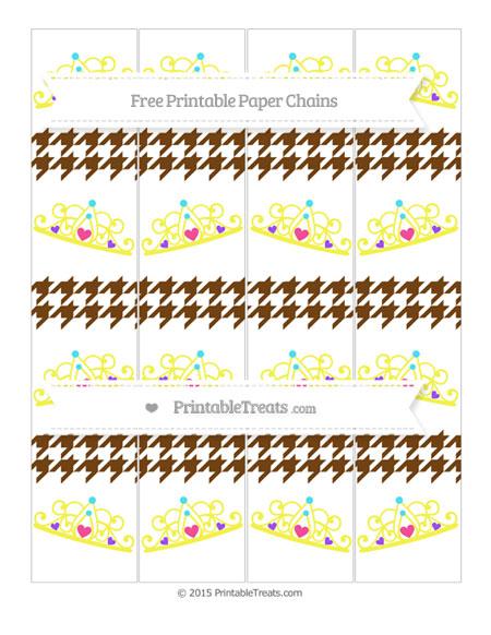 Free Sepia Houndstooth Pattern Princess Tiara Paper Chains
