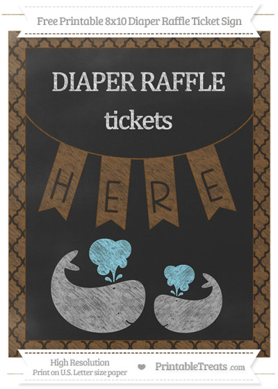Free Sepia Moroccan Tile Chalk Style Baby Whale 8x10 Diaper Raffle Ticket Sign