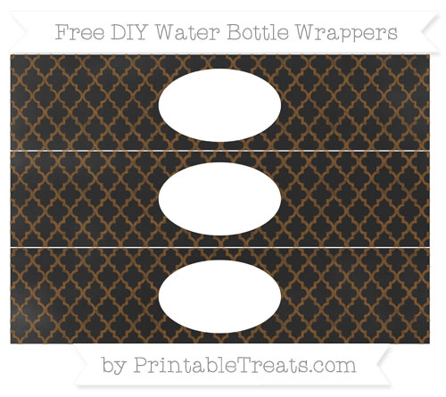 Free Sepia Moroccan Tile Chalk Style DIY Water Bottle Wrappers