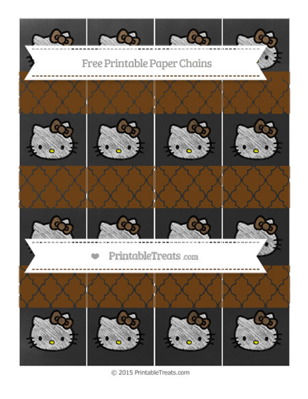 Free Sepia Moroccan Tile Chalk Style Hello Kitty Paper Chains