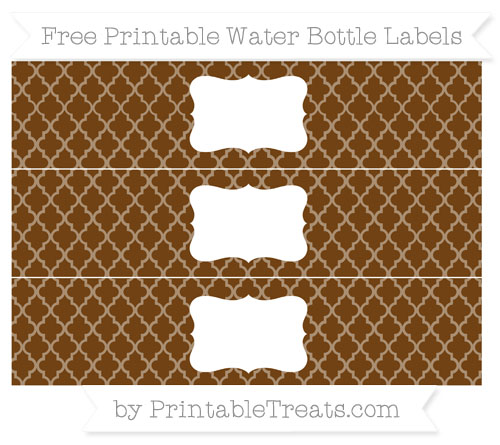 Free Sepia Moroccan Tile Water Bottle Labels