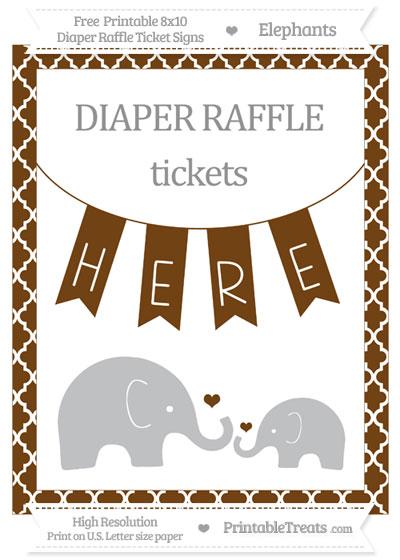 Free Sepia Moroccan Tile Elephant 8x10 Diaper Raffle Ticket Sign
