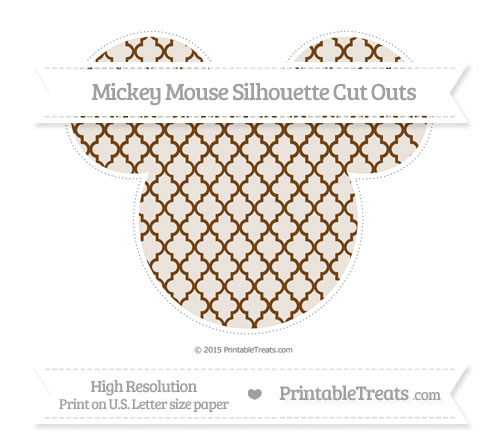 Free Sepia Moroccan Tile Extra Large Mickey Mouse Silhouette Cut Outs