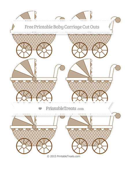 Free Sepia Moroccan Tile Small Baby Carriage Cut Outs