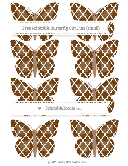 Free Sepia Moroccan Tile Small Butterfly Cut Outs