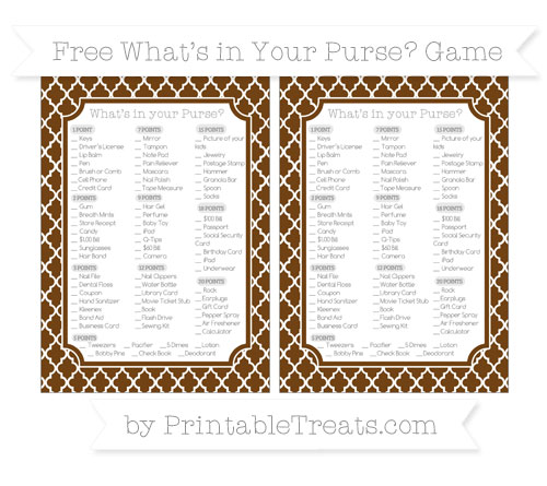 Free Sepia Moroccan Tile What's in Your Purse Baby Shower Game