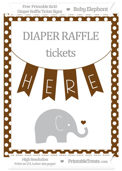 Free Sepia Polka Dot Baby Elephant 8x10 Diaper Raffle Ticket Sign