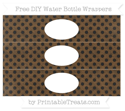 Free Sepia Polka Dot Chalk Style DIY Water Bottle Wrappers