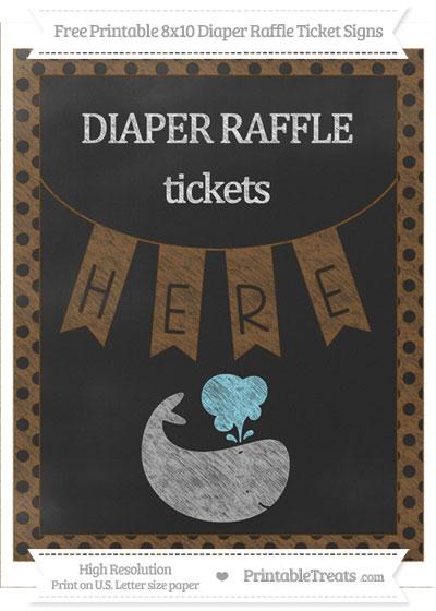Free Sepia Polka Dot Chalk Style Whale 8x10 Diaper Raffle Ticket Sign