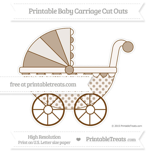 Free Sepia Polka Dot Extra Large Baby Carriage Cut Outs