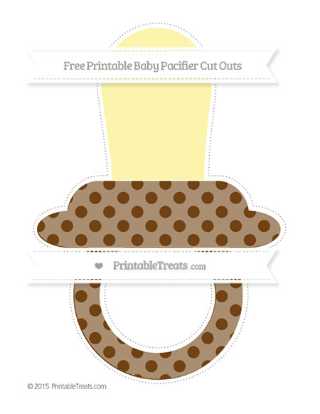 Free Sepia Polka Dot Extra Large Baby Pacifier Cut Outs