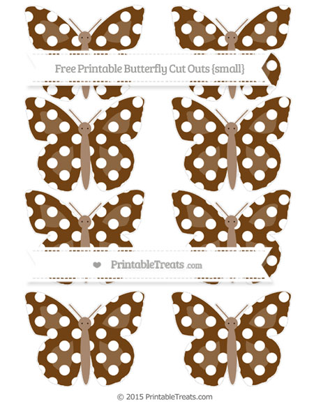 Free Sepia Polka Dot Small Butterfly Cut Outs