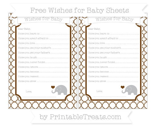 Free Sepia Quatrefoil Pattern Baby Elephant Wishes for Baby Sheets