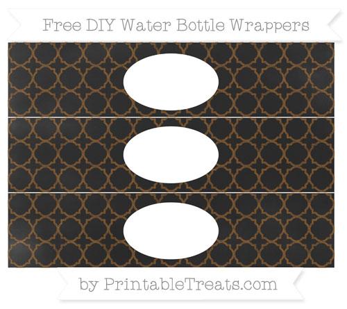Free Sepia Quatrefoil Pattern Chalk Style DIY Water Bottle Wrappers