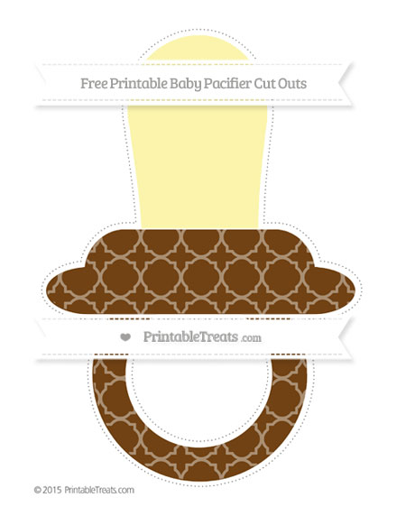 Free Sepia Quatrefoil Pattern Extra Large Baby Pacifier Cut Outs