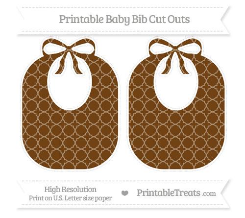 Free Sepia Quatrefoil Pattern Large Baby Bib Cut Outs