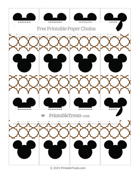 Free Sepia Quatrefoil Pattern Mickey Mouse Paper Chains