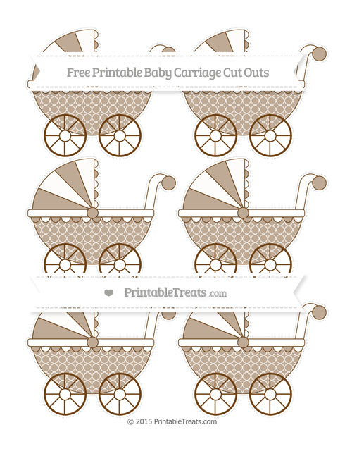 Free Sepia Quatrefoil Pattern Small Baby Carriage Cut Outs