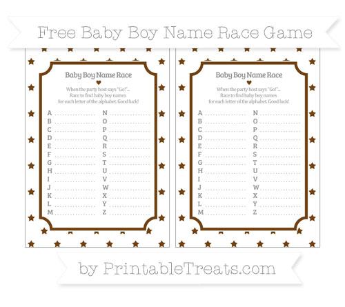 Free Sepia Star Pattern Baby Boy Name Race Game