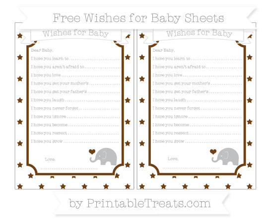 Free Sepia Star Pattern Baby Elephant Wishes for Baby Sheets