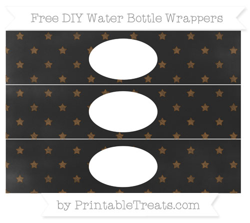 Free Sepia Star Pattern Chalk Style DIY Water Bottle Wrappers