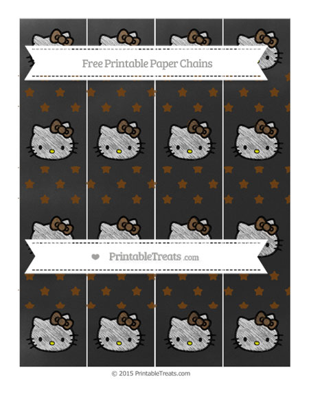 Free Sepia Star Pattern Chalk Style Hello Kitty Paper Chains