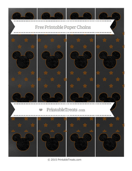Free Sepia Star Pattern Chalk Style Mickey Mouse Paper Chains