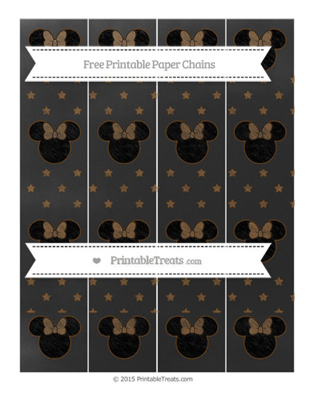 Free Sepia Star Pattern Chalk Style Minnie Mouse Paper Chains