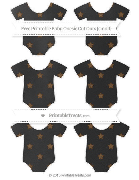 Free Sepia Star Pattern Chalk Style Small Baby Onesie Cut Outs