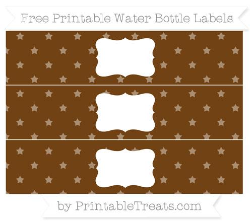 Free Sepia Star Pattern Water Bottle Labels