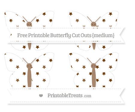 Free Sepia Star Pattern Medium Butterfly Cut Outs