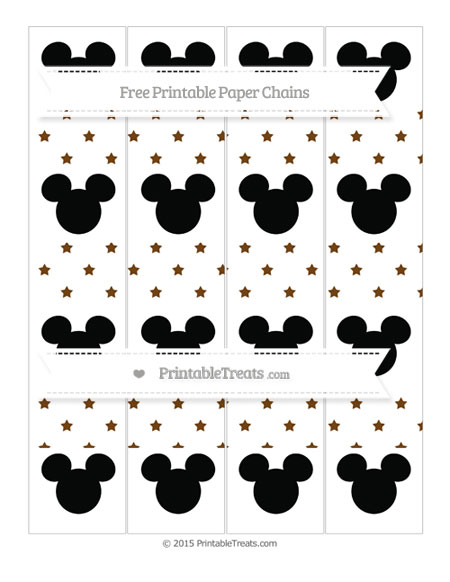 Free Sepia Star Pattern Mickey Mouse Paper Chains