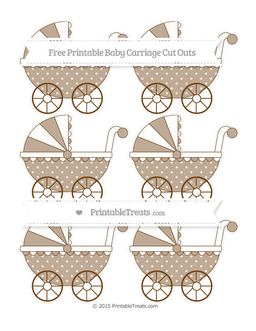 Free Sepia Star Pattern Small Baby Carriage Cut Outs
