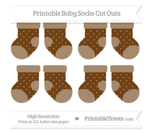 Free Sepia Star Pattern Small Baby Socks Cut Outs