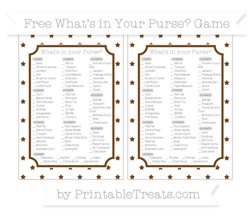 Free Sepia Star Pattern What's in Your Purse Baby Shower Game